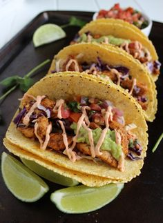 Skinny Baja Chicken Tacos   #EatClean http://www.healyourfacewithfood.com/