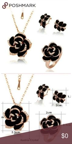 NWT Rose Flower 3PC Necklace Set Coming Soon 18kt rose gold plated , Australia crystal black flower necklace, ring, earring set, Jewelry Necklaces