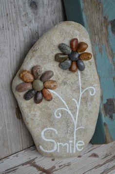 Lake Huron art, rock art, pebble art,  garden art,  beach art, Flower art, patio decor