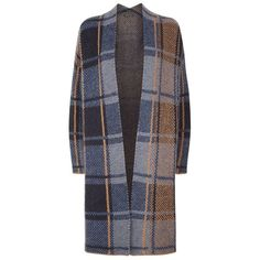 SET Long Plaid Cardigan ($315) ❤ liked on Polyvore featuring tops, cardigans, coats, long length tops, woven top, set top, plaid top and tartan top