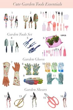if you are new to gardening, here are basic garden tools you will need. I found these essential garden tools from amazon. Plus, they're all super cute too! You'll need a small shovel, garden shears, garden gloves. - How to start a garden. Best tool for gardening. What to buy on amazon. #gardening #gardentools Garden Tool Set, Love Garden, Botanical Prints, Floral Prints, Gardening Gloves, Gardening Tools, Garden Posts, Diy Projects For Beginners, Starting A Garden