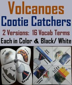 These cootie catchers on volcanoes are a great way for students to have fun while learning about the different types of volcanoes and their subsequent features. These cootie catchers contain the following vocabulary terms about volcanoes:  Volcano, Shield volcano, Cinder cone volcano, Composite volcano, Vent, Hot spot, Magma chamber, Caldera                                    And Lava, Magma, Aa, Pahoehoe, Pillow lava, Pyroclastic flow, Volc...