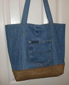 Recycled Denim & Suede Large Tote Bag, $52