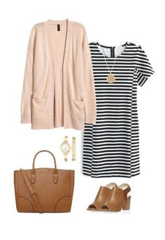 Cardigan Outfit Idea for Spring - Cardigan, Striped T-Shirt Dress, Peep Toe Booties