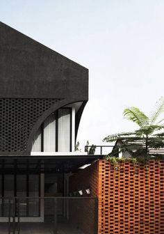 Elora House: An Abode Wrapped In Bricks | Atelier Bertiga - The Architects Diary Brick Material, House Template, Land Use, Roof Plan, Dark Grey Color, Facade House, Skylight, Modern House Design, The Neighbourhood