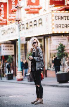 Chinatown in San Francisco | Pinko bomber jacket, Filippa K. top, Nixon watch, Escada sunnies, Asos distressed grey jeans |