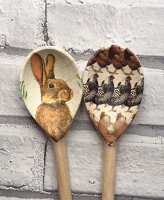 Emma Bridgewater Hens & March Hare Decorative Decoupage Wooden Spoons Gift #EmmaBridgewater #ShabbyChic
