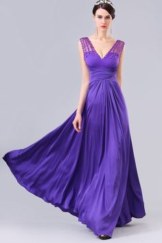 Sexy Deep V Neck See Through Back Long Regency Chiffon Beaded Evening Prom Dress