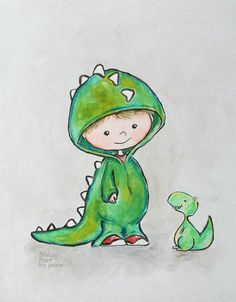 Dinosaur Wall Art/ Boys room Art/ Nursery Wall Art/ Boys Nursery/ Original Painting/ Dinosaur illustration/ Dinosaur and boy Adorable boy playing dress up with his pet dinosaur. This is a print of my original painting. Illustration Mignonne, Art And Illustration, Cute Dinosaur, Dinosaur Art, Cartoon Dinosaur, Art Wall Kids, Nursery Wall Art, Nursery Room, Art Mignon
