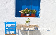 How can a simple chair, table and window look so pretty? Greece is glorious. The culture, the beauty, the people, the history... Greece. #InvestInGreece #Ellada  www.GreekPropertyExchange.com