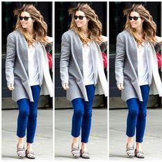 #jessicabiel #justintimberlake #handsome #couple #jeans #skinnyjeans #coat #blazer #shades #fit #coat #grey #blue #music #thegrammys #blonde #tshrit #white #cool #flats #animalprints #zebraprint... - Celebrity Fashion