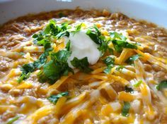 Not my fav, a little Bland - but again, trav loved it :) White Chicken Chili |