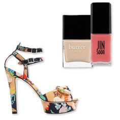 Because floral prints tend to be busy enough, your pedicure shouldn't have to compete. Balance the multi-tonal effect with a one-size-fits-all beige like Butter London's Yummy Mummy ($15; butterlondon.com), or use a sheer petal pink like Jin Soon's Tea Rose ($18; jinsoon.com) to mirror the slight pink accents in the dynamic pattern.     Shoes: Loeffler Randall