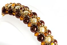 Seed Bead Bracelet in Brown & Ivory Glass Pearls, Topaz Crystals, Montees, Gold Seed Beads - Beaded Bracelet - Beadwoven - Hugs and Kisses