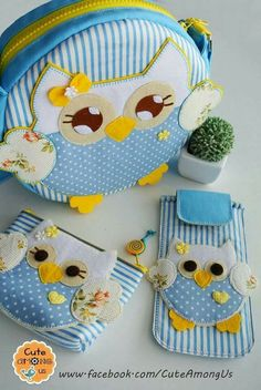 Discover thousands of images about Cute Owl Set. Sewing Crafts, Sewing Projects, Craft Projects, Sewing For Kids, Baby Sewing, Owl Crafts, Diy And Crafts, Owl Bags, Animal Bag