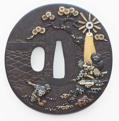 "A round russet iron tsuba with signature by Yanagawa Naomasa, (Edo-Meiji period 19th century) Subject is from the ""Tale of the Heike"" https://pccdn.perfectchannel.com/christies/live/images/item/JapaneseSamurai3832/5851892/original/NYR_3832_0004.jpg"