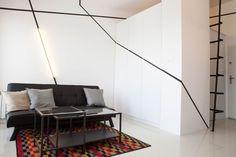 small apartment design in a black and white apartment design