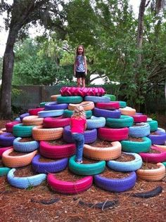 Up-cycle used tires to make a playground More