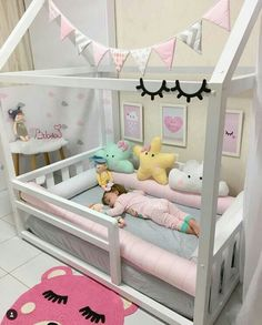 Hausbett - home decorating ideas - Babyzimmer Baby Bedroom, Baby Room Decor, Nursery Room, Girls Bedroom, Girl Toddler Bedroom, Kids Bedroom Ideas For Girls Toddler, House Beds For Kids, Trendy Bedroom, Little Girl Bedrooms