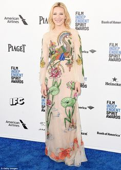 Beautiful: Cate Blanchett turned heads in an intricately detailed design by Gucci when she sashayed down the blue carpet at California's Independent Spirit Awards at the weekend