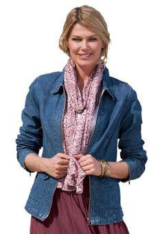 81badf5c08b77 Woman Within Plus Size Zip-front medium stonewash denim jean jacket  34.99  -  39.99 Plus