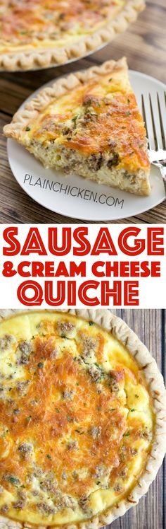 Sausage and Cream Cheese Quiche - so quick and easy. Everyone LOVED this recipe!! Can make ahead and freeze for later. Pie crust, sausage, cream cheese, cheddar cheese, heavy cream, eggs, sour cream and pepper. Ready to eat in an hour. Great for breakfast