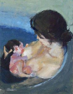 "and baby pictures Portrait artist paints a mom and baby in ""Bath"" This mom and baby are having their first bath together, and are just getting to know each other. By artist Jessie Rasche Mother Art, Mother And Child, Baby Painting, Artist Painting, Baby Baden, Breastfeeding Art, Birth Art, Bath Paint, Illustrations"