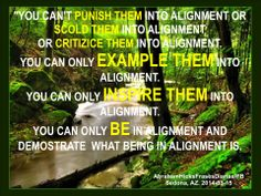 No puedes castigarlos a ellos hacia la Alineación o regañarlos a ellos hacia la Alineación o criticarlos a ellos hacia la Alineación. Solo puedes dar EJEMPLO a ellos hacia la Alineación. Solo puedes INSPIRARLOS a ellos hacia la Alineación. Solo puedes estar en Alineación y demostrar lo que es estar en Alineación.