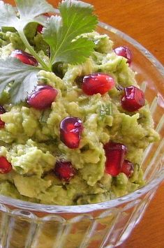 "Pomegranate Guacamole | ""I've tried several guacamole recipes and this one is great! We loved the sweet taste that the pomegranate seeds added to the dip."" #thanksgiving #thankgivingrecipes #thanksgivingappetizers #appetizerrecipes"