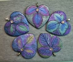 Available in my Zibbet shop.  Rustic heart leaf pendants polymer clay | Flickr - Photo Sharing!