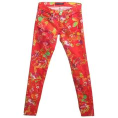 Pre-owned Red jeans with patterns (6.295 RUB) ❤ liked on Polyvore featuring jeans, red, flower print jeans, ralph lauren, patterned jeans, floral printed jeans and print jeans