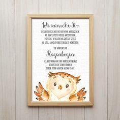 Wünsche Dir Regenbogen Eule Spruch Kunstdruck DIN A4 Liebevoll designte Kunstdrucke in Din A4 Format auf hochwertigem 200g/m² Spezial-Papier. Unsere Kunstdrucke sind nicht gerahmt - der...