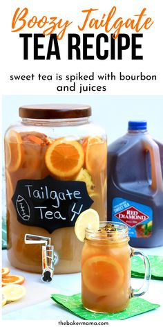 Boozy Tea Recipe that is spiked with fruit juices and bourbon. Tailgate Tea that is a fun way to cheer on your favorite team. Boozy Tea Recipe that is spiked with fruit juices and bourbon. Tailgate Tea that is a fun way to cheer on your favorite team. Tailgate Drinks, Tailgating Recipes, Tailgate Food, Tea Cocktails, Cocktail Recipes, Tea Drinks, Alcoholic Cocktails, Bourbon Drinks, Party Drinks