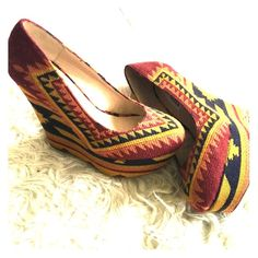 Tribal printed wedges Tribal print, multicolored, one inch platform, 4 inch wedge, great festival fashion statement Steve Madden Shoes Wedges
