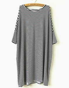 Vestido suelto rayas-blanco y negro