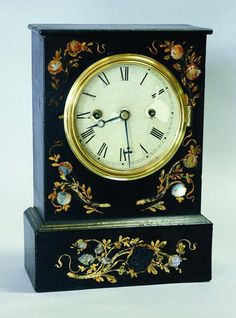 Mantle clock with mother-of-pearl inlay, by Chauncey Jerome, New Haven Clock Co.