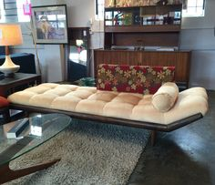 Gondola style sofa. Newer suede fabric. More info? Email midmodcollective@gmail.com