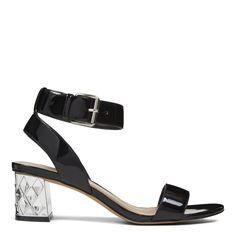 Black Patent Shineon Open Toe Sandals | Nine West