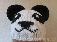 Muts panda breien patroon Knitted Hats, Crochet Hats, Wraps, Winter Hats, Blog, Beanie, Fur, Knitting, Design