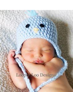 Baby Boy Hat Crochet Blue Bird Earflap Hat by LooptyLooDesigns Crochet Hats For Boys, Crochet Bebe, Crochet Baby Hats, Baby Knitting, Holiday Crochet, Knitted Baby, Newborn Photo Props, Newborn Photos, Baby Photos