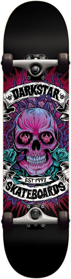 Darkstar 10512155 Tokes Complete Skateboards, FUL8.0, Magenta. 7 Ply Hard Rock Maple with our exclusive Stiff Glue Extra. 5.0 T5 Aluminum Darkstar trucks with good turning radius. 92A bushings, softer bushing allowing for all weight and size skaters. Abec 1 carbon steel speed bearings. New and improved urethane formula. 95A Durometer wheels are perfect hardness, suitable for both street and park skating.