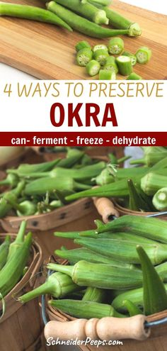 Okra loves the hot weather and is one of the few vegetables that will grow all summer long in the south. If you want okra the rest of the year you'll need to preserve it. Learn how easy it is to preserve okra by canning, freezing, dehydrating, fermenting, and pickling in this step by step guide. #PreservingFood #SimpleLiving #FromScratch #Homesteading Dehydrated Okra, Healthy Foods To Eat, Healthy Recipes, How To Store Potatoes, Pickled Okra, Frozen Green Beans, Fruit Preserves, Milk And Eggs