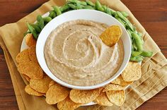 Roasted Garlic White Bean Dip #sweetpotato #recipes #dips #chips #crackers