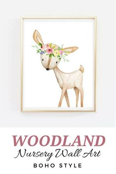 Cute prints for the nursery! Perfect for a baby girl's bedroom · woodland animals | boho printable | nursery art | forest animals nursery decor | floral nursery art | fox rabbit deer | boho bohemian nursery ideas girl | wall art | wall decor | instant digital download #ad #boho #nurseryideas #wallart #bohostyle #nurserydecor #nursery #walldecor