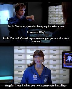 Brennan, Zach, and Angela - i do so miss the zack humor. Id like him back with all the interns