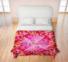 LIFE IS BEAUTIFUL Fine Art Duvet Cover King Queen by EbiEmporium, $220.00 #hotpink #pink #typography #life #beautiful #elegant #splash #geometric #squares #pattern #crimson #magenta #red #burgundy #peacock #feathers #ombre #ocean #waves #beach #splash #bedroom #bedding #decor #homedecor #decorative #duvet #cover #colorful #stylish #modern #pretty #feminine #cheerful #whimsical #bright #art #fineart #abstract #acrylic #painting #water