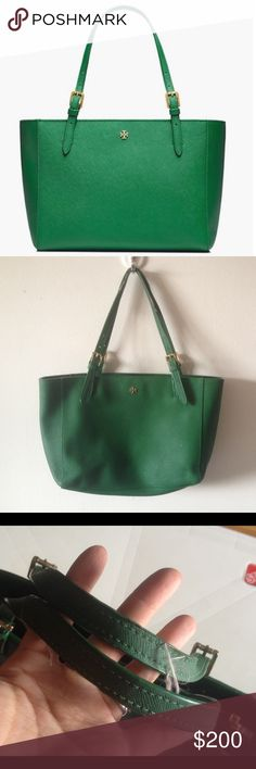 Tory Burch Small York Tote Bag Green Gorgeous authentic Tory Burch York tote in a vibrant green shade, perfect for summer! Measures about 9 x 12 x 5 inches. In great shape with some light wear to handles. No trades! Tory Burch Bags Totes