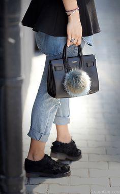 saint laurent sac de jour bag in black I Love Fashion, Daily Fashion, Everyday Fashion, It Bag, Nano Bag, Pom Pom Bag Charm, Blue Jeans, Yves Saint Laurent Bags, Fur Accessories