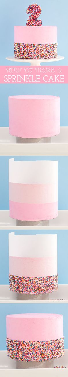 Ideas birthday cake sprinkles kids desserts for 2019 - Cake Decorating Dıy Ideen Cake Decorating Techniques, Cake Decorating Tutorials, Cookie Decorating, Decorating Ideas, Decoration Patisserie, Cheesecake Decoration, Birthday Desserts, Cake Birthday, 5th Birthday