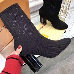 Louis Vuitton lv woman ankle sock boots high heels
